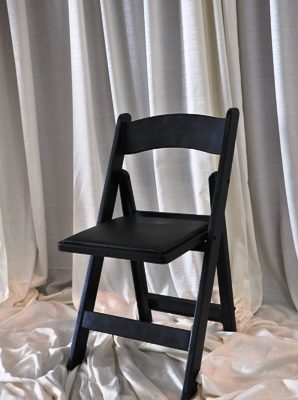 Black Resin W/ Padded Seat Folding Resin Chair
