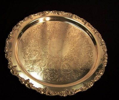 tray silver ornate 20in rnd 3914