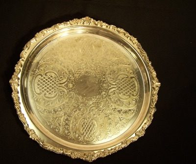 tray silver rnd 14in ornate 3949