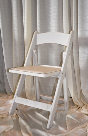 white resin w padded seat folding resin chair party time rental